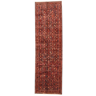 Herat Oriental Persian Hand-knotted Tribal Hamadan Wool Runner (3'7 x 12'2)