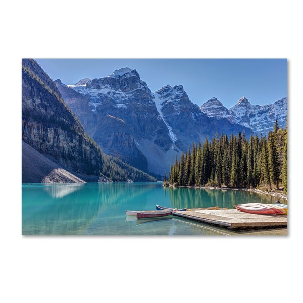 Pierre Leclerc 'Moraine Lake Canoes' Canvas Art
