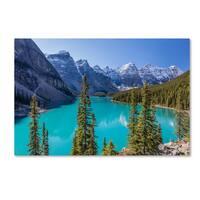 Pierre Leclerc 'Turquoise Moraine Lake' Canvas Art