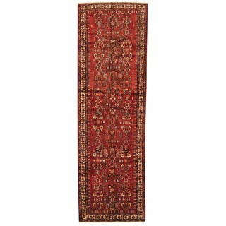 Herat Oriental Persian Hand-knotted Tribal Hamadan Wool Runner (4' x 12'9)