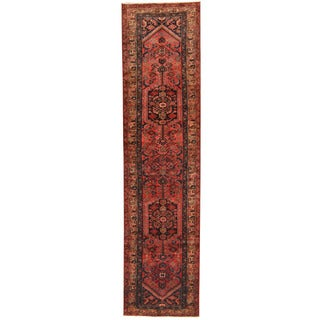 Herat Oriental Persian Hand-knotted Tribal Hamadan Wool Runner (3'5 x 13'9)
