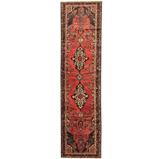 Herat Oriental Persian Hand-knotted Tribal Hamadan Wool Runner (3'5 x 12'10)