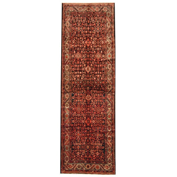Herat Oriental Persian Hand-knotted Tribal Hamadan Wool Runner (3'10 x 12'3)