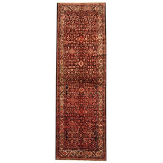 Herat Oriental Persian Hand-knotted Tribal Hamadan Wool Runner (3'10 x 12'3)