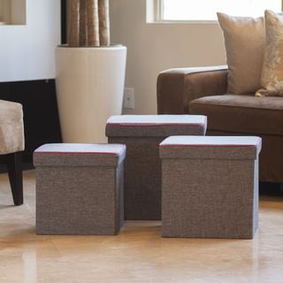 Danya B Folding Storage Ottoman 3 Pc Set - Gray