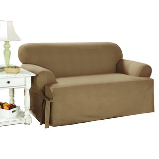Sure Fit Duck Solid T-Cushion Loveseat Slipcover