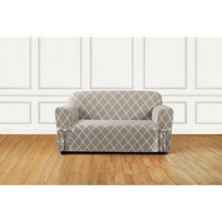 Lattice 1 Piece Slip Cover With Ties And Cord, Loveseat Cover