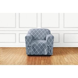 Sure Fit Lattice 1 Piece Slip Cover With Ties And Cord, Chair Cover