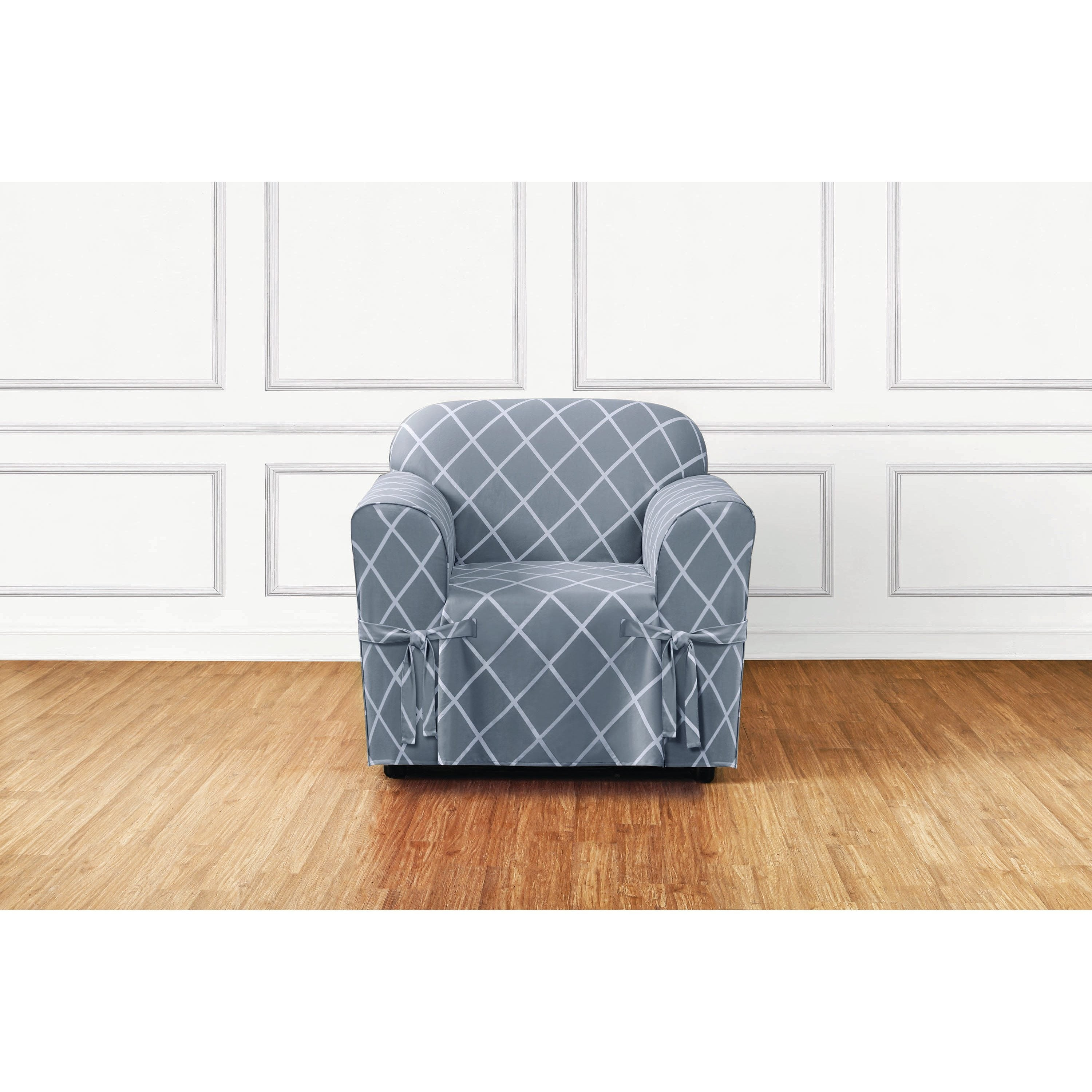 Sure Fit Lattice 1 Piece Slip Cover With Ties And Cord Chair