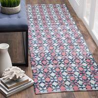 "Safavieh Hand-Woven Montauk Flatweave Coral / Multicolored Cotton Runner Rug - 2'3"" x 6'"