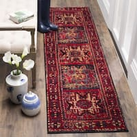 Safavieh Vintage Hamadan Traditional Red/ Multi Distressed Runner Rug