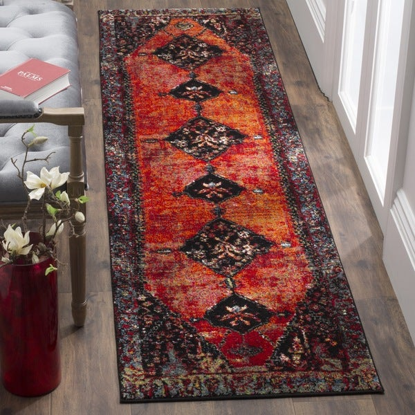 Safavieh Vintage Hamadan Orange/ Multicolored Distressed Runner Rug (2' x 8')