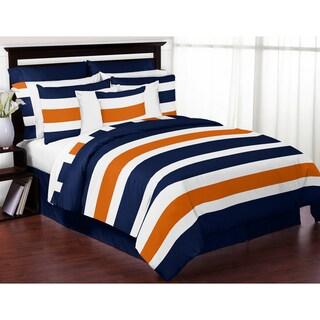 Sweet Jojo Designs Navy Blue and Orange Stripe 3-piece Comforter Set