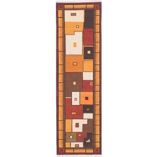eCarpetGallery Izmir Kilim Brown, Red Wool Hand-Woven Kilim (2'7 x 9')
