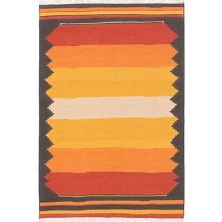eCarpetGallery Hand-woven Ankara Kilim Orange, Yellow Wool Kilim Rug (4'0 x 6'0)