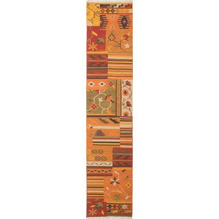 eCarpetGallery Orange Wool/Cotton Handwoven Izmir Kilim Rug (2'6 x 12')