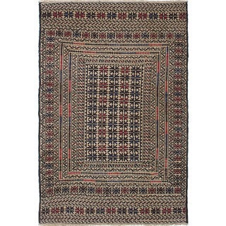 eCarpetGallery Shiravan Sumak Blue/Ivory Wool Hand-Woven Rug (4'0 x 6'0)