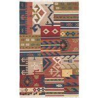 eCarpetGallery Izmir Kilim Blue/Red Hand-woven Wool Kilim (4'9 x 7'9)