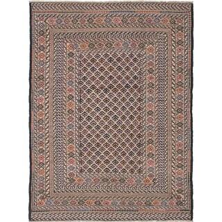 eCarpetGallery Shiravan Sumak Brown/Ivory Wool Hand-Woven Rug (4'6 x 6'0)