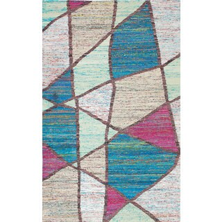 eCarpetGallery Brown/Ivory Sari Silk Handwoven Kilim Rug (5' x 8'2)