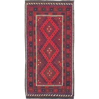 eCarpetGallery Hand-Woven Qashqai Red Wool Kilim (3'11 x 7'10)