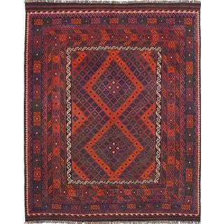 eCarpetGallery Oriental Kilim Qashqai Red Wool Hand-woven Rug (8'5 x 10'3)