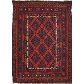 eCarpetGallery Hand-woven Qashqai Red Wool Kilim Rug (7'9 x 10'8)