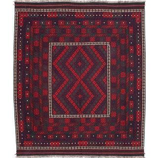 eCarpetGallery Qashqai Red Wool Handwoven Kilim Rug (8'1 x 9'7)