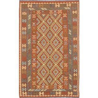 eCarpetGallery Anatolian Kilim Blue/Orange Wool Handwoven Rug (4'11 x 8'2)