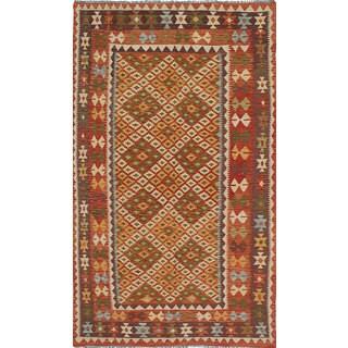 eCarpetGallery Brown Wool Handwoven Izmir Kilim Rug (4'11 x 8'9)