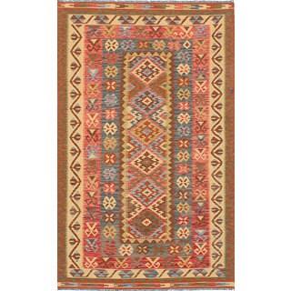eCarpetGallery Red/Yellow Wool Hand-woven Sivas Kilim Rug (5'0 x 8'7)