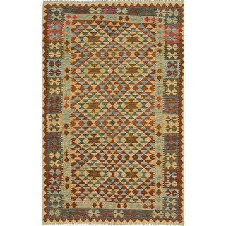 eCarpetGallery Handwoven Anatolian Blue/Brown Wool Kilim Rug (5'3 x 8'4)