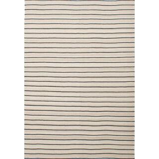 eCarpetGallery Ivory Wool/Cotton Handwoven Ankara Kilim Rug (6'6 x 9'7)