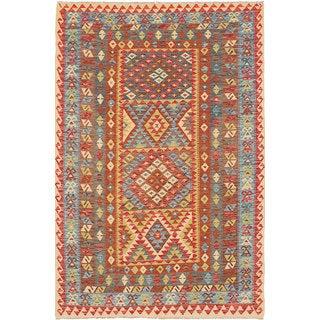 eCarpetGallery Hand-woven Hereke Kilim Blue/Orange Wool Kilim (5'6 x 8'5)