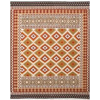 eCarpetGallery Handwoven Kashkoli Kilim Brown/ Ivory Wool/ Cotton Rug (8' x 10')