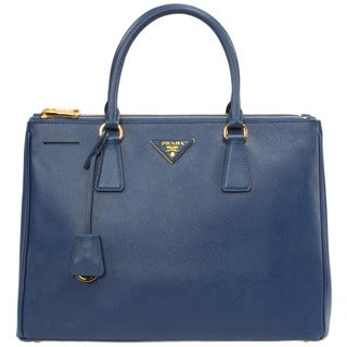 Prada Galleria Saffiano Blue w/ Gold Hardware Leather Tote Bag