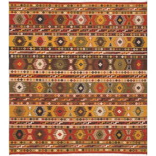 eCarpetGallery Kilim Kashkoli Orange/Red Wool Hand-woven Rug (8'2 x 9'10)