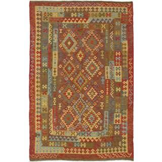 eCarpetGallery Anatolian Kilim Red Wool Hand-woven Oriental Area Rug (6'3 x 9'8)