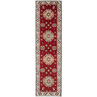 eCarpetGallery Royal Kazak Ivory/Red Wool/Cotton Hand-knotted Rug (2'8 x 10')