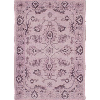 eCarpetGallery Hand-Knotted Eternity Pink Wool Rug (4'6 x 6'5)