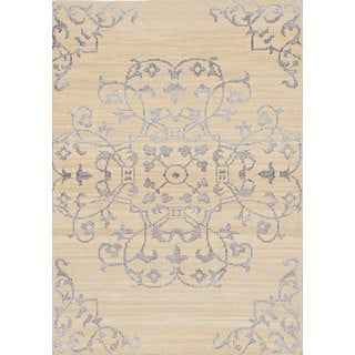 eCarpetGallery La Seda Ivory-colored Wool/Art Silk Hand-knotted Rug (4'6 x 6'5)