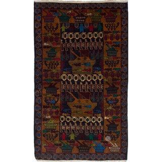 ecarpetgallery Hand-Knotted Rare War Brown Wool Rug (3'10 x 6'7)