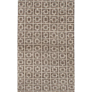 eCarpetGallery Hand-knotted Eternity Green/ Ivory Wool Rug (4'11 x 8')