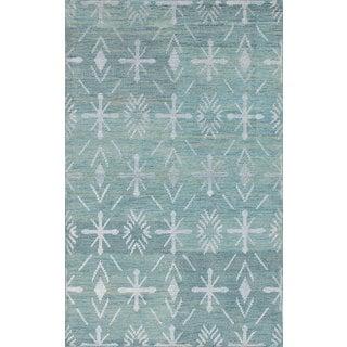 eCarpetGallery La Seda Blue Wool/Art Silk Hand-knotted Rug (4'11 x 7'11)