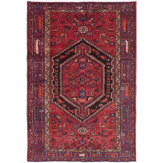 eCarpetGallery Hand-knotted Hamadan Red Wool Rug (4'6 x 6'8)