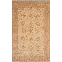 eCarpetGallery Chobi Finest Ivory/Brown Wool/Cotton Hand-knotted Rug (6'1 x 9'9) - 6'1 x 9'9