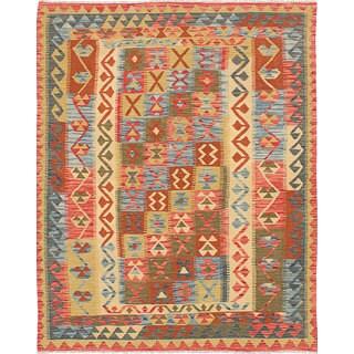 eCarpetGallery Yama Green/Orange Wool Hand-woven Kilim (5'3 x 6'7)