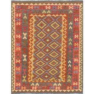 eCarpetGallery Kilim Anatolian Orange/Yellow Wool Handwoven Rug (5' x 6'10)