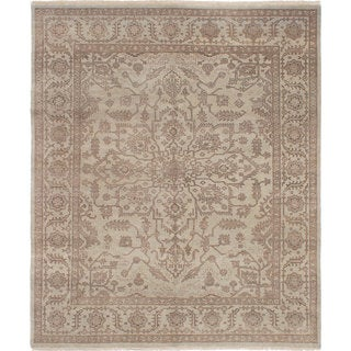 eCarpetGallery Ushak Grey Wool Hand-knotted Rug (8'0 x 9'7)