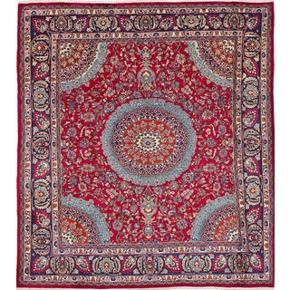 eCarpetGallery Persian Red Wool Hand-knotted Vintage Rug (9'11 x 10'11)